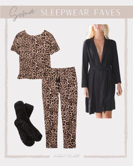 Soma sleepwear favorites | leopard print pajama set • cozy black robe • fuzzy socks | #rebekahelizstyle #cozyoutfit #comfyoutfit   #LTKunder50 #LTKstyletip #LTKcurves