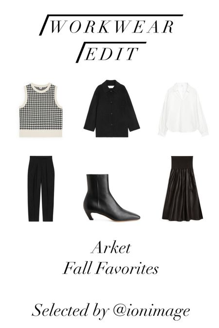 Workwear Edit: Arket Fall Favorites 🖤 Houndstooth wool jacquard vest, black wool coat, white blouse, black pants, heeled ankle boots and flared leather midi-skirt 🖤  #workwear #officestyle #businessstyle #businesswear #officewear  #LTKstyletip #LTKworkwear #LTKSeasonal