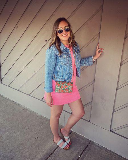 Summer dress. Summer dresses. Denim jacket. Slide sandals. Cover up. Bright pink. Sunglasses. Favorite outfit. Summer outfit. Fashion 2021. Affordable look. Outfit on repeat. http://liketk.it/3hACG #liketkit @liketoknow.it #LTKstyletip #LTKunder100 #LTKsalealert
