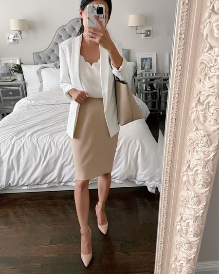 Business formal workwear // summer to fall office outfits   •H&M white blazer •JCrew Factory tank size 00 •Express pencil skirt size 00 (fits a little loose on me at waist and hips) •Marc Fisher heels suz 5 (run narrow, size up 1/2 if between sizes) •Sole Society tote bag   #LTKworkwear #LTKSeasonal #LTKstyletip