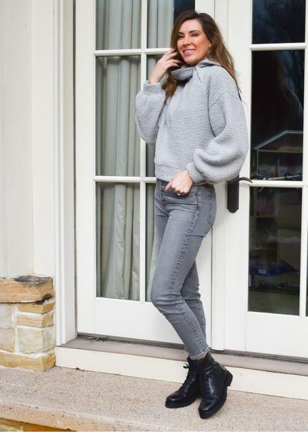 This asymmetrical zip sweater is so cozy. Looks great paired with some denim and your favorite combat boots. | #combatboots #zipsweater #halfzipsweater #fallsweaters #bestsellers #darkjeans #darkdenim #combatboots #JaimieTucker   #LTKstyletip #LTKSeasonal