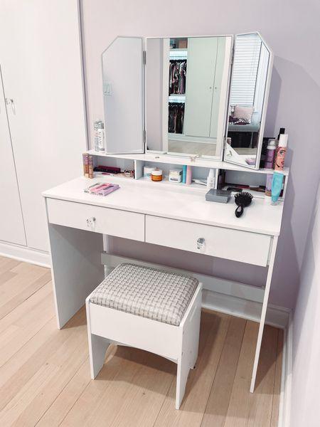 My closet vanity is on sale under $200! It comes with the desk, matching mirror, and stool.   #LTKhome #LTKsalealert #LTKbeauty