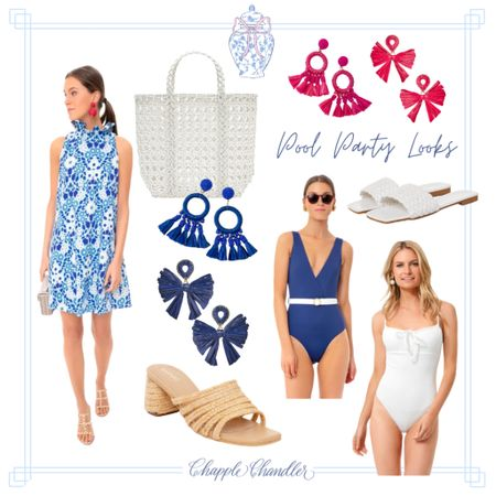 Blue and white chintz dress tuckernuck scalloped bathing suit Pool party poolside looks beach swimwear bathing suit sun hat straw hat bow hat pink gingham swimsuit swim suit one piece cover up caftan beach bag beach towel outdoor dining entertaining outfit   #LTKswim #LTKSeasonal #LTKunder100