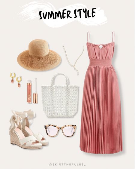 J.Crew, summer outfit, beach vacation, summer style, date night outfit, casual dress, summer dress: pink midi dress, pink pleated dress, straw hat, delicate necklace, white tote bag, white bag, woven bag, pink lip gloss, pink drop earrings, lace up espadrille dresses, tortoise sunglasses. @liketoknow.it http://liketk.it/3guZM #liketkit #LTKunder50 #LTKunder100 #LTKstyletip #ltkwedding #ltkseasonal