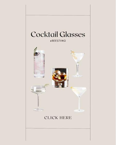 Classic cocktail glasses that don't break the bank or your budget.   #cocktailglasses #wineglasses #cocktail #wine   #LTKhome #LTKunder50 #LTKsalealert
