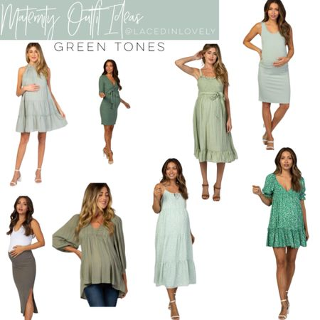 Cute Maternity styles in green tones! These maternity styles are comfy and great quality. Pink Blush has a discount code at the top of their website that changes daily. Today it is code SWEETDEAL for 30% off dresses. 25% off bottoms, and 20% off tops.  I wear a size medium unless otherwise noted!  #LTKsalealert #LTKbump #LTKstyletip