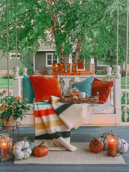 Cozy Fall porch swing version two! 🍂🧡🍁  #LTKSeasonal #LTKhome #LTKstyletip