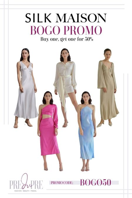 Promo Alert! Looking for the perfect silk dress, Silk Maison has a gorgeous selection of dresses. Dress it up for date night or down on a casual errand out.  dress, silk dress, maxi dress, shirt dress, cut-out dress, halter dress, date night, wedding guest outfit  #LTKsalealert #LTKGiftGuide #LTKstyletip