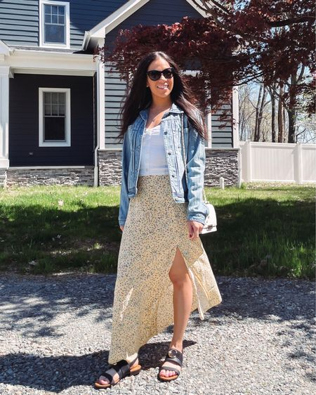 This white Cami that I wore to a baby shower earlier in the year is on sale as part of the LTK day sale. Paired here with a pretty floral midi skirt, denim jacket, and some designer sandals.  #LTKSale #LTKunder50 #LTKSeasonal