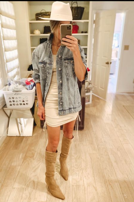 An OG oversized denim jacket is always a great option to throw on over a dress. $26 ribbed knit dress from amazon fashion, fall hat, fall outfit idea, fall fashion, fall dresses, denim jacket, knee high boots   #LTKunder50 #LTKstyletip #LTKunder100