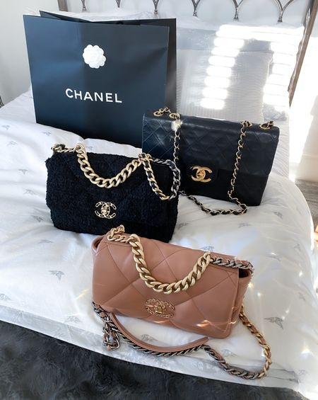 Happy moments with my Chanel crew 🙌 from back to front, A vintage Chanel jumbo classic flap, Chanel 19 large in black tweed and small Chanel 19 in caramel. 🔥 which would you choose if you could only pick one?   #Chanelbag #ChanelClassicFlap #Chanel19Bag  #LTKstyletip #LTKSeasonal #LTKDay
