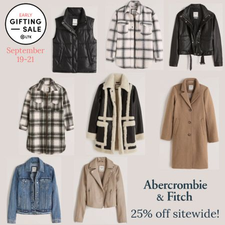 The LTK Early Gifting Sale ends tomorrow! All of your fall fashion favorites and bestsellers from Abercrombie & Fitch are on sale for 25% off through September 21st, only in the LTK app!  . Fall outfit fall outerwear camel coat shearling coat puffer vest denim jacket moto jacket leather jacket jean jacket shacket plaid shirt jacket   #LTKSale #LTKunder100 #LTKsalealert