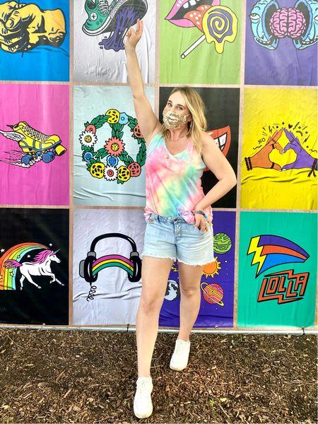Lollapalooza street fest look with tie dye shirt and high waisted Jean shorts. Amazon find   #LTKunder100 #LTKstyletip #LTKunder50