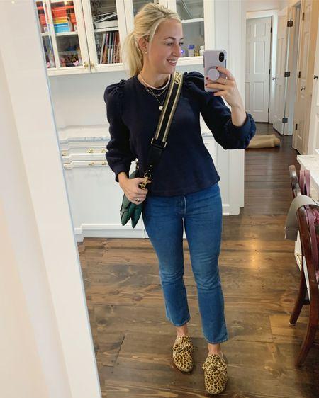 Puff Sleeve Sweatshirt + High Waist Kick Flare Jeans + Leopard 💙 http://liketk.it/2YZhj #liketkit @liketoknow.it #LTKshoecrush #LTKstyletip
