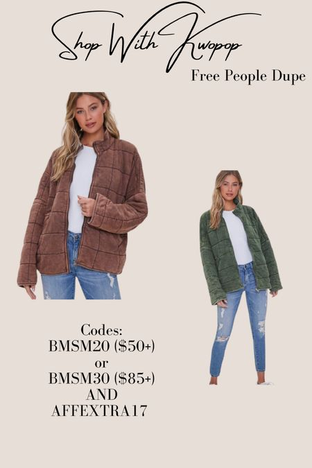Back in stock and going fast! The free people dupe jacket - for under $50!   #LTKbacktoschool #LTKsalealert #LTKSeasonal