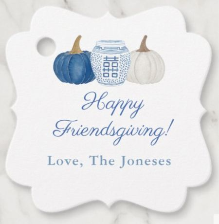 How adorable are these customizable gift tags?! They would look so cute tied to a Fall themed gift place card for Thanksgiving or Friendsgiving 🍁 🍽  Home decor, fall decor, pumpkins, chinoiserie, blue and white, preppy decor, thanksgiving decor, table, dining table, tablescape, table ideas, holiday decor, thanksgiving table, centerpiece, wedding, baby shower, party gift, hostess gifts, party hostess, gift tag, hostess gift, grab bag   #LTKSeasonal #LTKhome #LTKHoliday