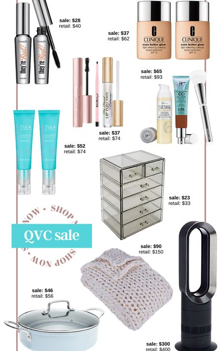 Qvc sale Hsn sale tarte make up makeup organizer cc cream they're real mascara cc cream dyson air purifier chunky blanket weighted blanket knit throw it cosmetics Clinique too faced eye blue pan kitchen home beauty essentials makeup sale   #LTKunder100 #LTKGiftGuide #LTKsalealert
