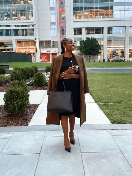 """Returning back to the office can be stressful. It doesn't matter if you're the professional woman that's back in the office full time, hybrid or working from home with a renewed sense to get dressed  and nail down a routine in our new normal. It's time to make sure you have work appropriate wardrobe staples. If you stay ready, you don't have to scramble to get ready. It also takes time to build a work wardrobe that represents """"you"""" as you evolve professionally or become more confident in adding an element of who you are.   Performance is key on the job, yet people judge a book by its cover and what you wear can boost your confidence. No matter how formal your workplace is, always look professional.  ______ Suiting/Earrings: @jcrew  Necklace: @timelesspearly via net@porter  Heels: @vincecamuto  Coat: @aliceandolivia Bag: @bananarepublic      #LTKstyletip #LTKworkwear"""