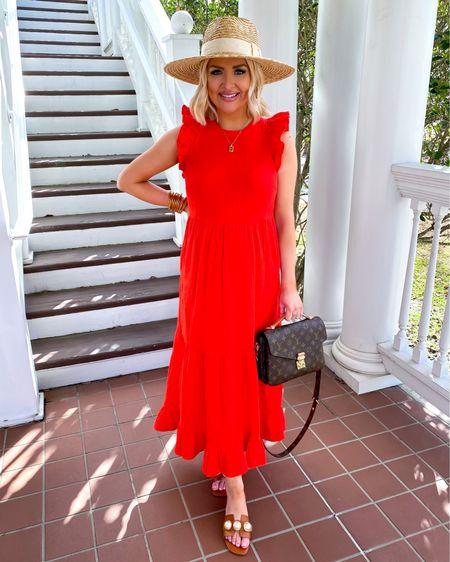 Red ruffle midi dress | bump friendly | maternity style | Target finds | Target spring | vacation style | straw hat  http://liketk.it/393EO @liketoknow.it #liketkit #LTKbump #LTKunder50