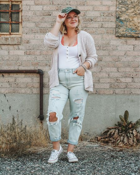 Mom jeans, Aerie Bralette, casual and comfy, fall transition, mom uniform, fall vibes, converse shoreline, mama hat, Henley tank, comfy cardigan, fall cardigan, neutrals, mom jean outfit, simple outfits, affordable, target, affordable mom jeans, easy outfit.   http://liketk.it/2VE3t #LTKstyletip #LTKsalealert #LTKunder50 #LTKfall #liketkit @liketoknow.it