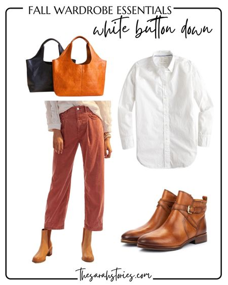 FALL ESSENTIALS : CLASSIC WHITE BUTTON SHIRT  // Fall outfit idea, Fall transition outfit, casual everyday outfit, corduroy pants, cognac boots, everyday tote, casual outfit idea   #LTKstyletip #LTKunder100
