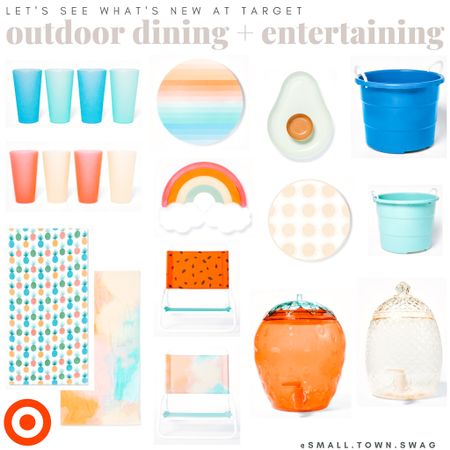 More new things at target! Everything you need to entertain this summer!  Everything is linked, and be sure to follow along with me on Instagram @small.town.swag for more finds!! . . . . . .  Let's see what's new at target! I'm digging these new melamine dishes from Opal house — all linked!  PS... be sure to follow along with me on Instagram for even more fun finds like these! . . . . Opal house // Target finds // dishes // dish set // home // kitchen // dining // flatware // cups // plates // bowls // platters // dish // pot holders // platter // sun squad // Rainbow platter // beach towels // buckets rainbow // avocado // avocado platter   #LTKhome #LTKunder50 #LTKunder100