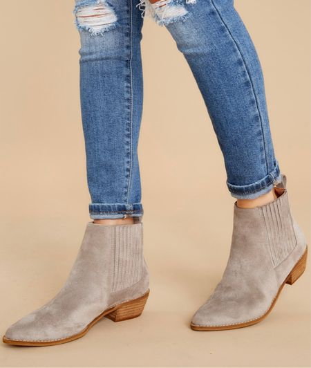 I love the heel height of these $50 gray booties!