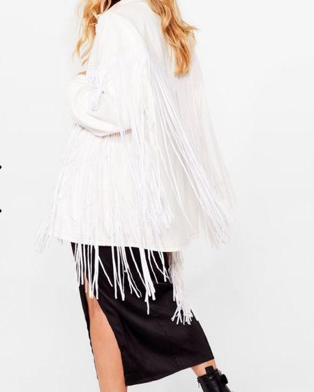 Oversized denim fringe jacket. 🥰🥰 #nastygal http://liketk.it/35a5D #liketkit @liketoknow.it