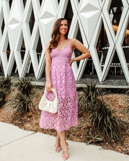 This lace midi is one of my favorite wedding guest dresses! It's flattering, under $100 and comes in so many different colors. 💜💜💜 • • 📲 Shop my daily looks by following me on the LIKEtoKNOW.it shopping app http://liketk.it/3j86h #liketkit @liketoknow.it