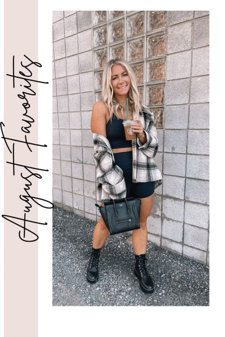 August Favorites - edgy bike shorts outfit, flannel, lace up boots, fall outfits   #LTKshoecrush #LTKstyletip #LTKunder100