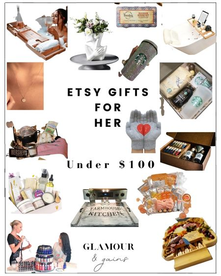 Custom gifts for her under $100. Gin making kits, spa gift sets, bath caddies, custom lipstick, home decor, personalized gold necklaces & everything for all the women in your Christmas gift list 🎁   #LTKunder100 #LTKGiftGuide #LTKhome