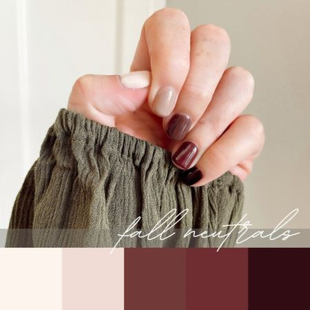 Fall Neutral Nails. Fresh manicure 💅🏻. Nudes and deep reds. Red shades. Colors from thumb to pinky:: OPI Be There in a Prosecco; Coconuts Over OPI; OPI You Dont Know Jacques!; OPI Scores a Goal; IBD Dare to Be Decadent   #LTKbeauty #LTKunder50 #LTKstyletip