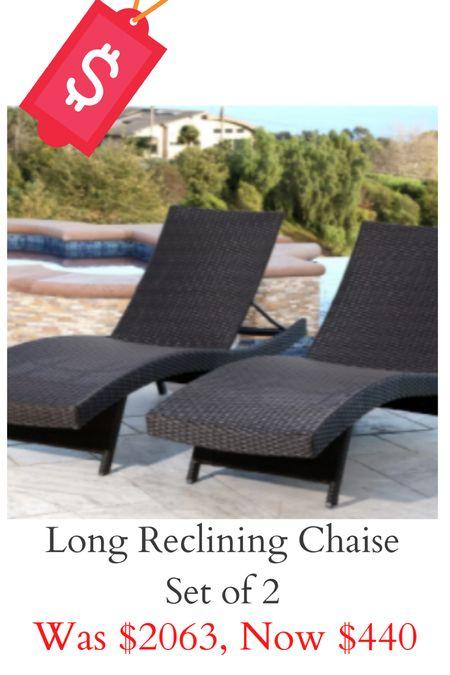 Outdoor long reclining chaise set on major sale!   #LTKsalealert #LTKhome #LTKswim