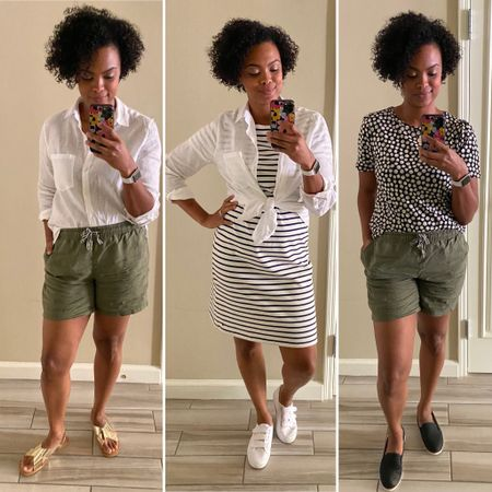 """Sharing some of my fav @joulesusa pieces that I packed for my """"workcation"""" last week. These have been in heavy rotation because each piece is so comfy and versatile! I don't know about you but I just need an easy, breathable, and stylish wardrobe these days. Joules is a UK brand that puts sustainabilityat the forefront, plus my size is truly my size. Everything fit on the first try. Whether it's these pieces or others you find that tickle your fancy, use code KACHET for free shipping through 9/5. I can't WAIT to see what you pick out - and hear what you think about this vid, of course!  Items:Vera Gathered Sleeve Blouse in Black Daisy Lorena Linen Longline Shirt in White Riviera Long Length Jersey Dress, Cream Navy Stripe (comes in reg length, too)Clarina Casual Pull-On Shorts in Seaweed Dora Fedora  Linked via @liketoknow.it : http://liketk.it/2Vehy #liketkit"""