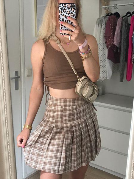 Checked skirt in brown🤎  #LTKstyletip #LTKeurope #LTKsalealert