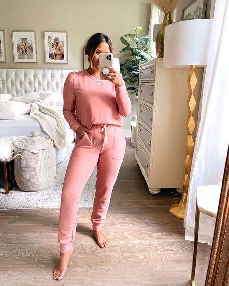 How cute is this matching lounge set? Runs TTS and comes in 2 other colors, but this antique mauve is my favorite!  Take 15% OFF with code: HAUTE15 … #gibsonlook #joggers #loungewear #sweatshirt   #LTKstyletip #LTKhome #LTKsalealert