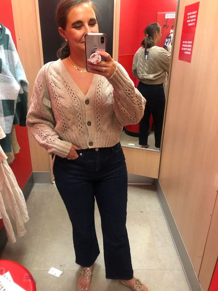 Clothing at target is 20% off. This open weave cropped sweater is going to be major this fall and I LOVE it paired with these flares!   #LTKbacktoschool #LTKSeasonal #LTKsalealert