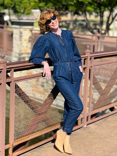 Jumpsuit, denim jumpsuit, fall outfit, fall look, chambray jumpsuit, balloon sleeves, tie waist jumpsuit, JCrew jumpsuit, suede booties. Taupe booties  This chic jumpsuit is on major sale right now, and so are my booties (60% off!)  #LTKsalealert #LTKstyletip #LTKSeasonal