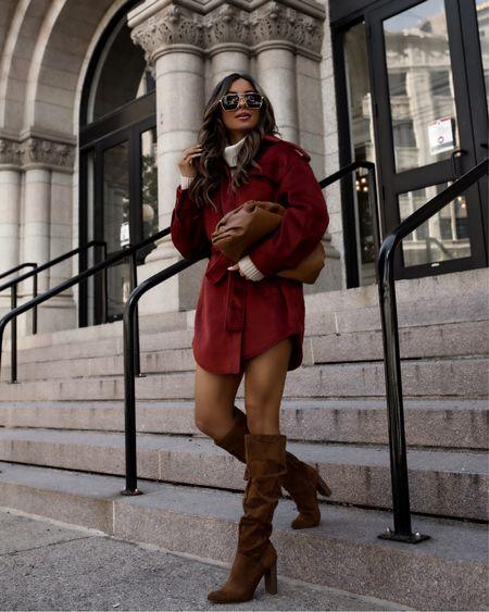 Walmart fall fashion  Walmart shacket  Walmart suede brown boots  Walmart sweater dress (size up)   #LTKunder100 #LTKstyletip #LTKunder50