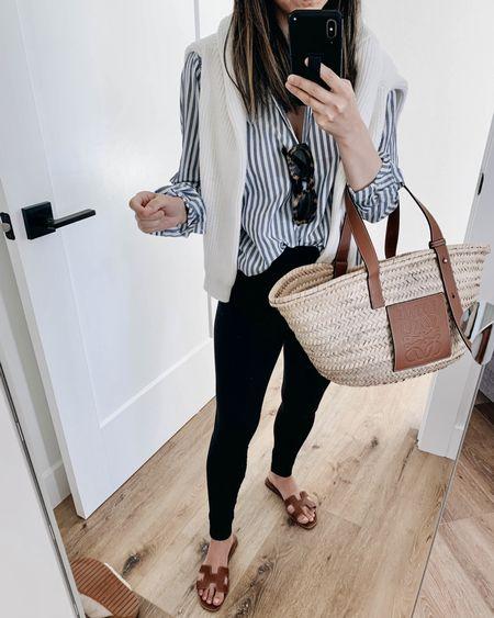Daily #ootd. Maternity style.   Shirt- Everlane xs Sweater- J.Crew small  Leggings- Ingrid & Isabel 1 Bag- Loewe medium Sandals- Hermès 35 Sunglasses- Anine Bing (old)  http://liketk.it/3ihZh   @liketoknow.it #liketkit #LTKbump