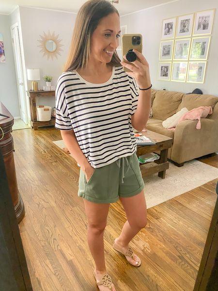 Amazon striped tee, Abercrombie shorts   #LTKstyletip #LTKsalealert #LTKunder50