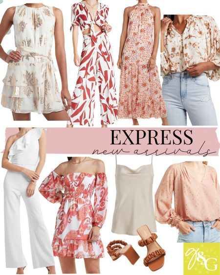 Express New Arrivals// matching set, floral maxi dress, printed blouse, silk tank, off the shoulder dress, white jumpsuit, bridal outfits   #LTKunder100 #LTKshoecrush #LTKstyletip