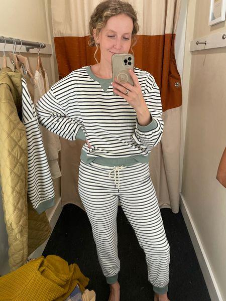 Velour striped set (wearing a small in bottoms, medium top)   #LTKSeasonal #LTKunder100 #LTKHoliday