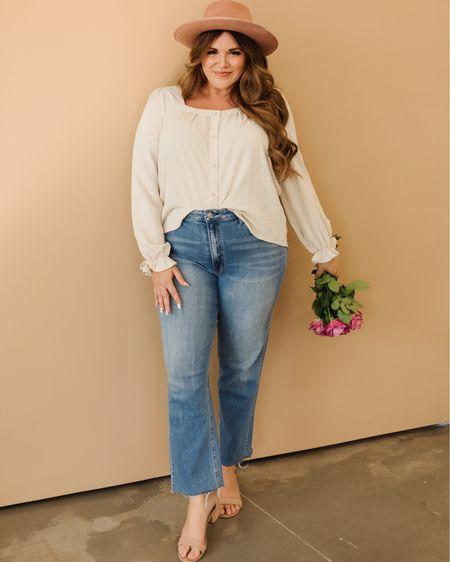 curvy fall style 🍂 wearing size large in top and 32 in denim!   #LTKunder100 #LTKcurves #LTKSeasonal