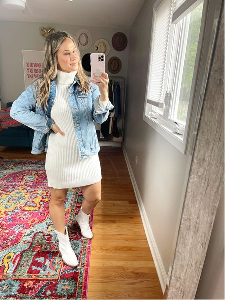 A sweater dress is my favorite kind of fall dress, paired this white dress with an oversized jean jacket and western booties for the cutest fall outfit. This dress and booties are both amazon finds!  #LTKsalealert #LTKshoecrush #LTKstyletip