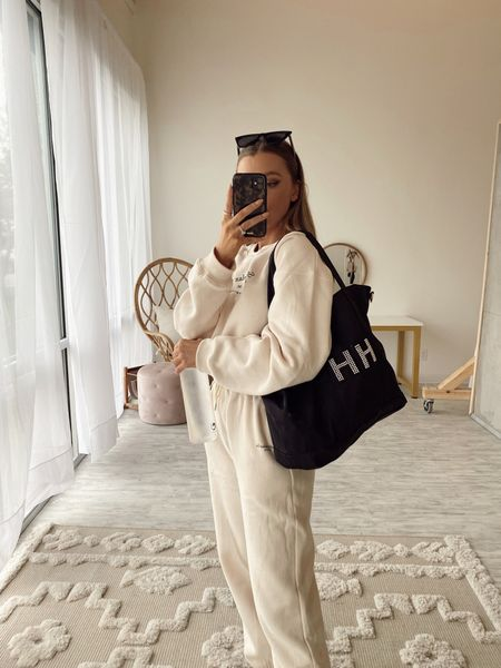 casual outfit, matching set, nylon tote, personalized Stoney clover bag worn pearl letters, amazon finds sunglasses, healthy time tracking water bottle   #LTKGiftGuide #LTKHoliday #LTKunder50