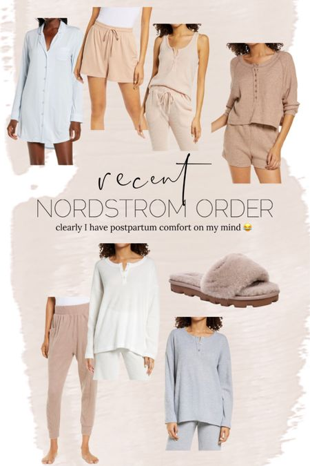 Recent Nordstrom order // postpartum // maternity // baby // pregnant // loungewear // pajamas // tank // joggers // slippers // http://liketk.it/3i227 @liketoknow.it #liketkit #LTKunder50 #LTKbump #LTKstyletip