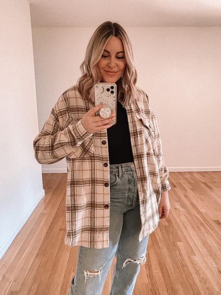 Fall plaid shacket. Wearing US6 (M).   Full outfit, casual fall outfit, shirt jacket