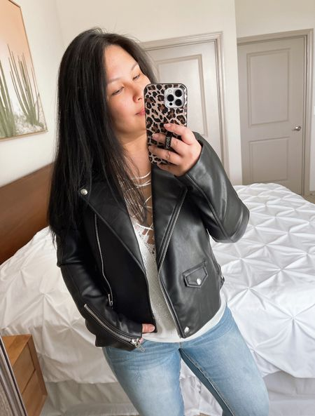 Nordstrom Anniversary Sale | Blank NYC Black Faux Leather Jacket | wearing size M   #LTKsalealert #LTKstyletip #LTKunder100