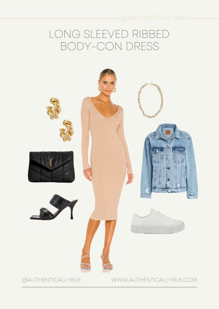 Currently trending: Ribbed Bodycon Dress. Fall style, fall dresses, ribbed dresses, body con dresses, jean jacket, sneakers, gold jewelry 🤩  #LTKshoecrush #LTKstyletip #LTKitbag
